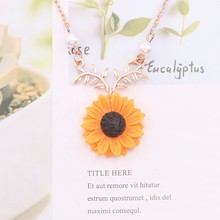 Delicate Sunflower Pendant Necklace For Women Girls Creative Imitation Pearls Plant Necklaces Clothes Accessories Charm Jewelry fashion sunflower pendant necklaces for women creative imitation pearls long chain necklace statement jewelry