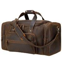 MAHEU Große Reisetasche Aus Echtem Leder Vintage Stil Gepäck Taschen Männer Männlichen Duffle Taschen Reisen Tasche Weekender Taschen für mann