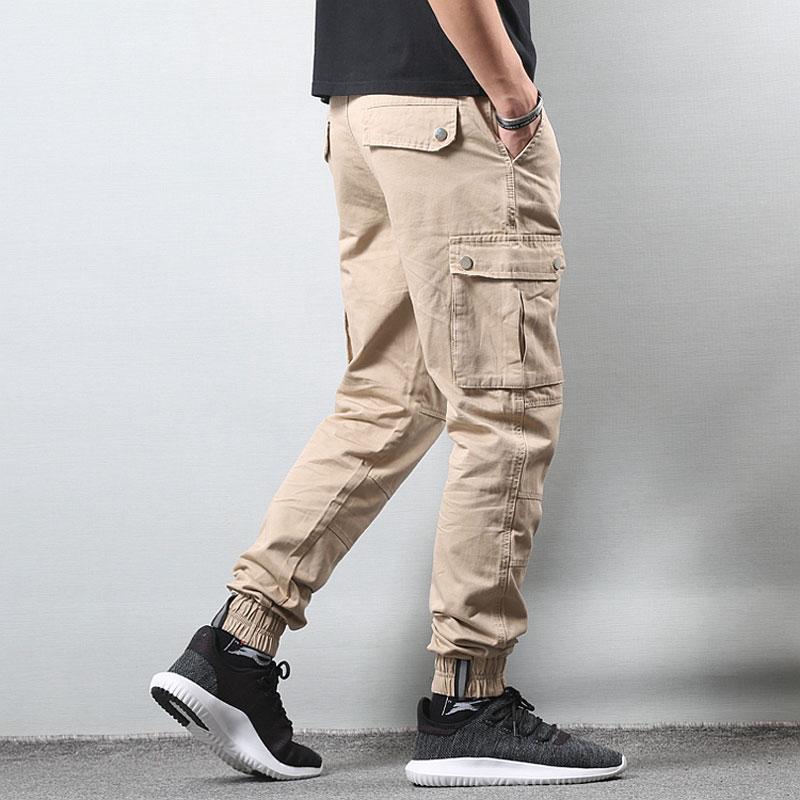 Fashion Streetwear Men Jeans Khaki Color Big Pocket Casual Cargo Pants Men Slack Bottom Harem Trousers Hip Hop Joggers Pants