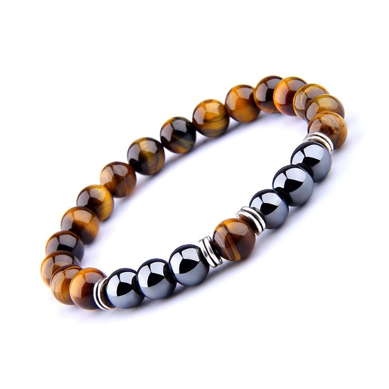H12a743b948a3414e811e6962ea253441h - Natural Tiger Eye Beads Bracelet For Women Health Care Hematite Stretch Bracelets Men charm Fashion Jewelry Pulsera Hombre gift (Tiger eye)
