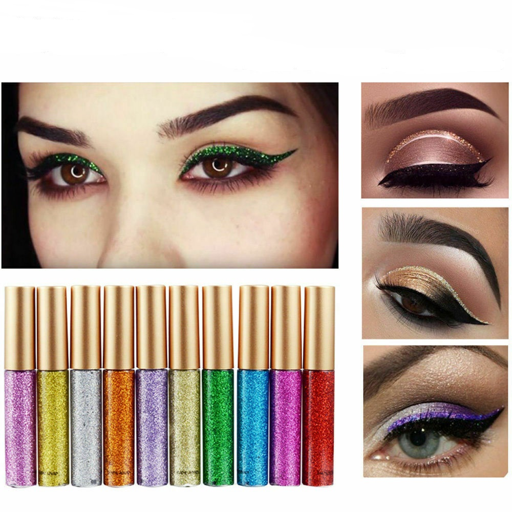 10 Colors Waterproof Flash Shiny Eyeshadow Glitter Liquid Eyeliner Pencil Female Long Lasting Shimmer Eye Liner Pen Natural