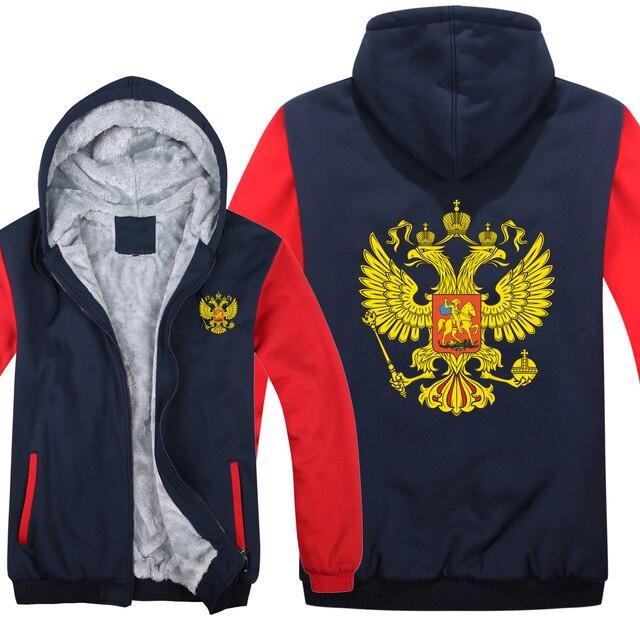 Rusland Hoodies Fleece Rits Dikker Mannen Kleding Trui Cool Russische Vlag Sweatshirt Mannen