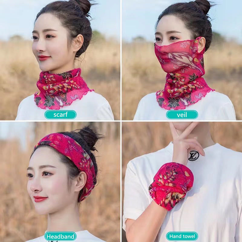 2020 Hot Sell Mouth Mask Lightweight Face Mask Scarf Sun Protection Mask Chiffon Face Mask Women Sun Protection Scarves