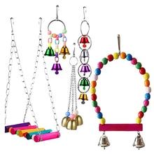 5pcs set Exercise Small Bells Hanging Stand Wooden Grinding font b Pet b font Entertainment Bird