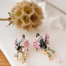 S04-056 Original Les brand Enamel Necklace Nightingale Cherry Blossoms Pendants sweater Chockers Chains Necklaces(China)