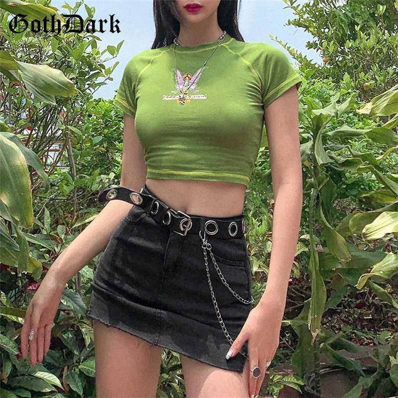 גותיקה כהה E-ילדה מתוק Harajuku Bodycon יבול חולצות טי לנקבת מלאך גרפי הדפסה מזדמן חולצות ירוק קיץ o-צוואר למעלה