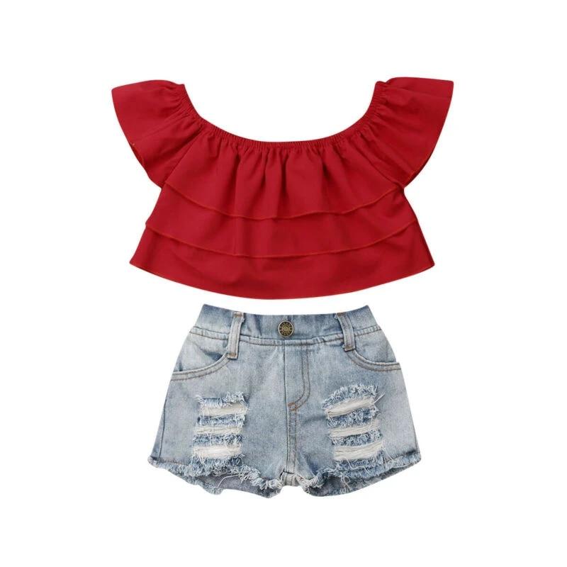 Toddler 2Pcs Baby Girls Children Summer Tank Top Denim Short Jeans Sets Outfits