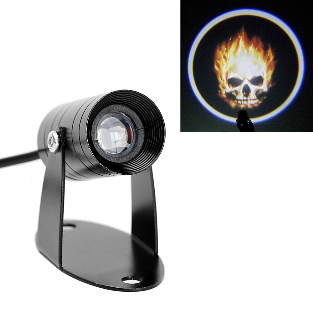 LEEPEE Fog Lamp 3D LED Logo Light Ghost Rider Flaming Skull Tail Lighting Logo Laser Projector Motorcycle Spotlight