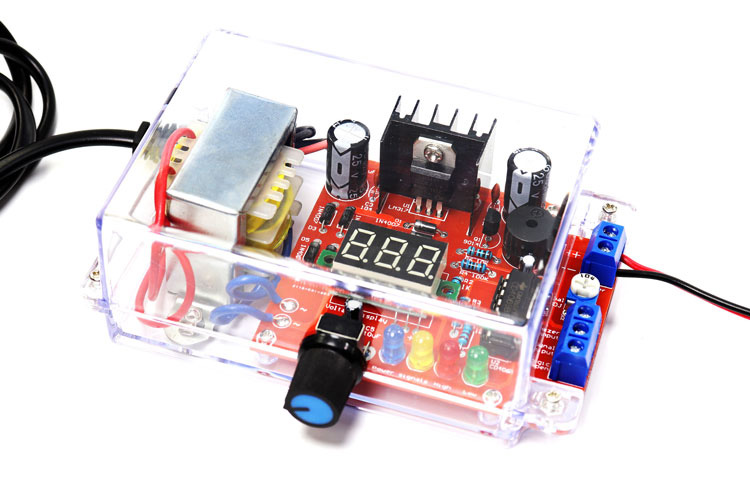 Factory Wholesale Free Shipping EU 220V DIY LM317 Adjustable Voltage Power Supply Board Learning Kit With Case image