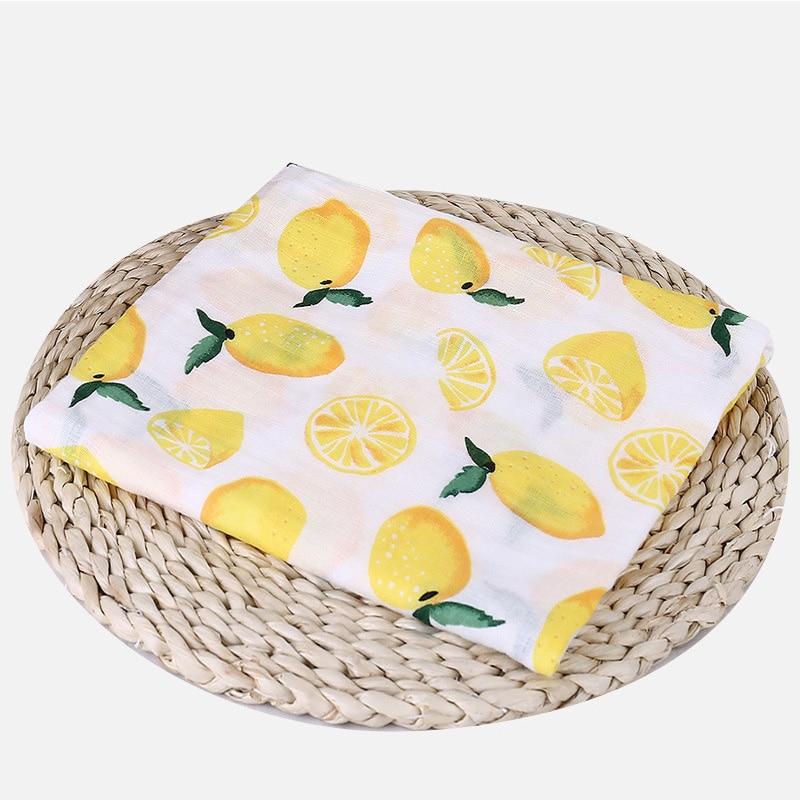 1 шт., муслин, хлопок, детские пеленки, мягкие одеяла для новорожденных, для ванной, марля, Детская накидка, спальный мешок, чехол для коляски, игровой коврик - Цвет: Lemon