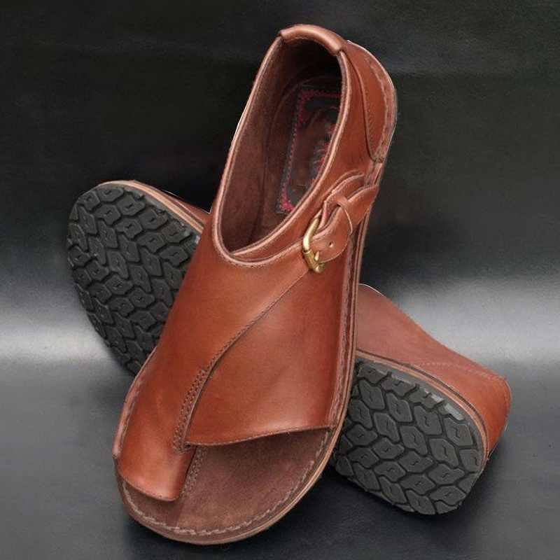 HEFLASHOR 2019 kadın deri sandalet rahat Plat düz ayakkabı taban rahat yumuşak büyük Toe ayak sandalet renk Patchwork Retro ayakkabı