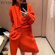 TVVOVVIN, необычный дизайн, одноцветное модное осеннее платье для женщин, с высокой талией, длинное, по колено, вязанное платье ZX494