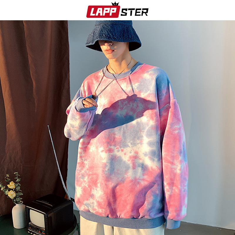 LAPPSTER Men Tie Dye Japanese Streetwear Hoodies 2019 Mens Harajuku Sweatshirts Couple Korean Hoodies Casual Pink Fall Clothing