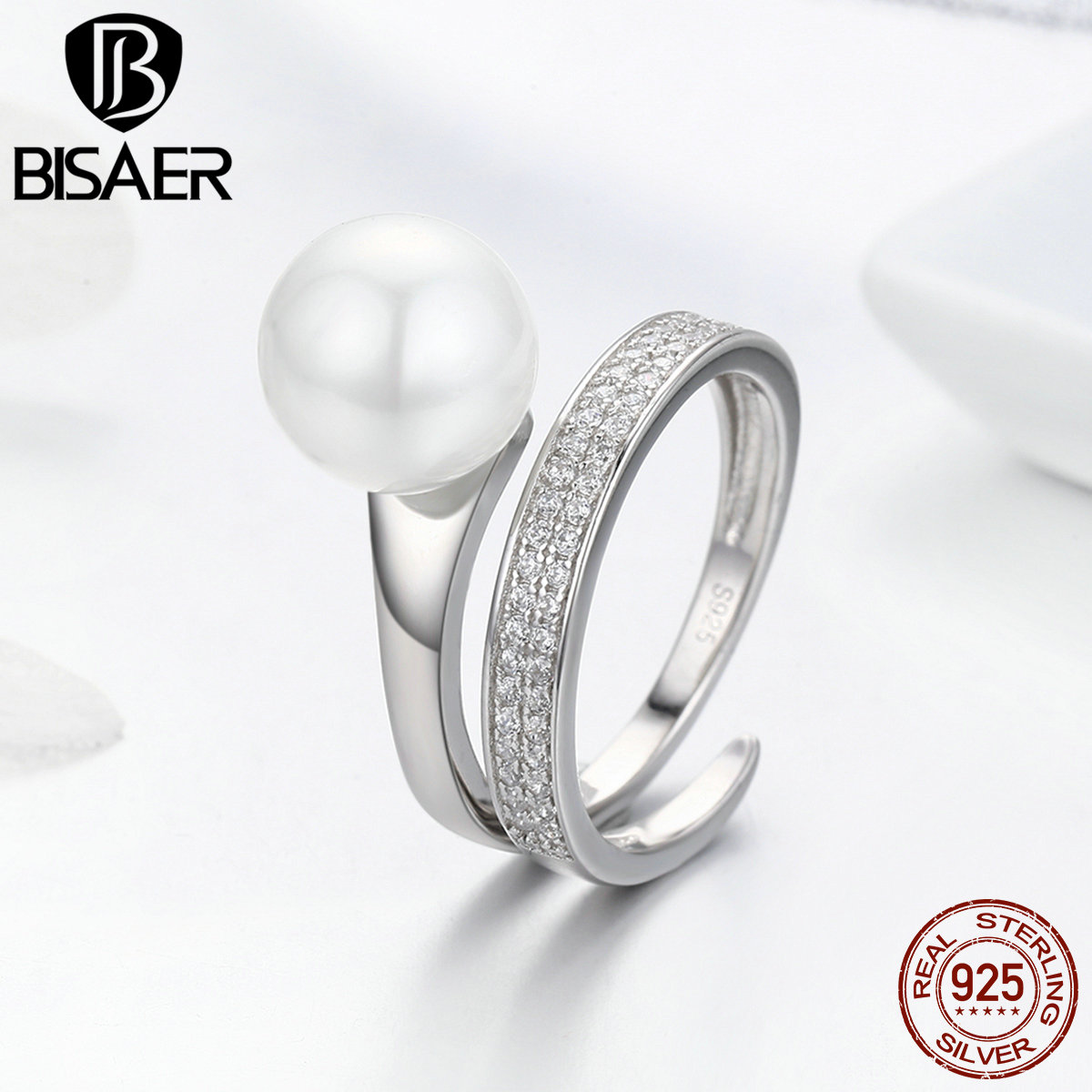 BISAER 100% 925 Sterling Silver Adjustable Female Ring Twisted Wave Clear CZ Finger Rings For Women Engagement Jewelry GXR231