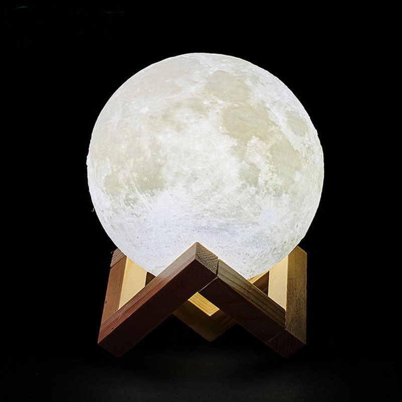 Livraison directe 3D impression Rechargeable LED lune lampe créative tactile interrupteur 16 couleurs chambre décoration lune lumière cadeau de noël