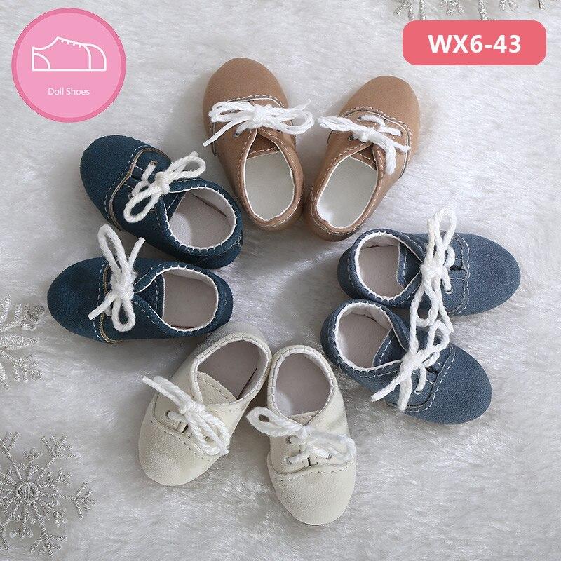 BJD Shoes For 1/6 YOSD Bjd Body Light Blue Colors Leather Shoes About Length 4.6cm Accessories OUENEIFS