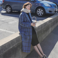 Long Tartan Overcoat Women's 2018 Autumn And Winter New Style Padded Loose And Plus sized Pattern Woolen Jacket Hot Selling