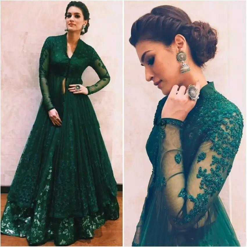 Hunter Green Dresses Evening Wear With Long Sleeves Lace caftan Kaftan Abaya Dubai Indian V Neck Prom Dress  Anju Modi
