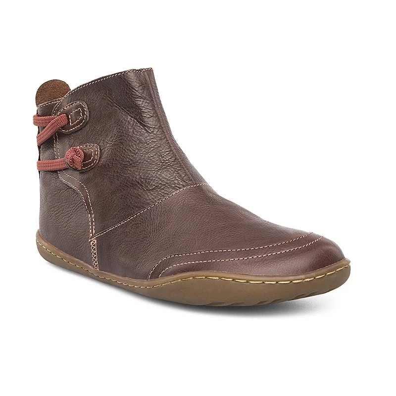 """Monerffi Mùa Đông Nữ Mắt Cá Chân Giày Retro Da Bò Nhỏ Cho Nữ Boot Casual Giày Da PU Botas Mujer """"Womanshoes"""
