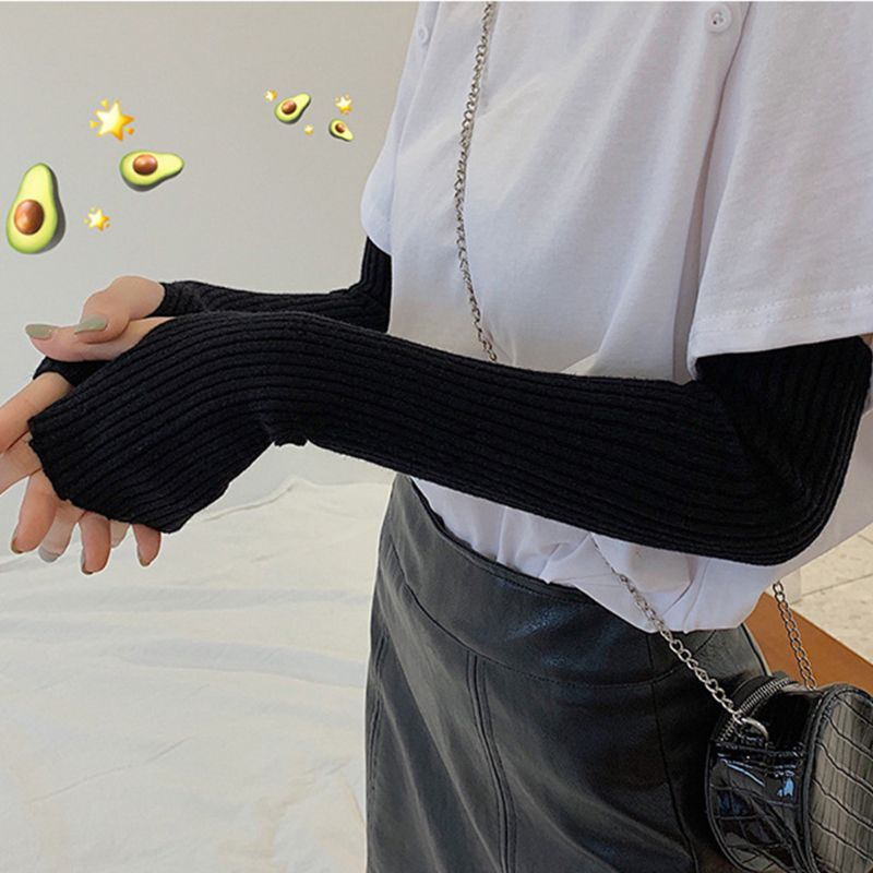 Womens Winter Ribbed Knit Long Fingerless Gloves Over Elbow Arm Warmer Sleeve