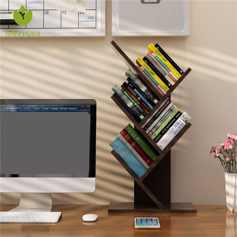 Bookshelf Desk Creative Study Bookcase Tree Shaped Furniture Decor Book Rack Multi-grid Storage Shelf Wooden Display Shelf