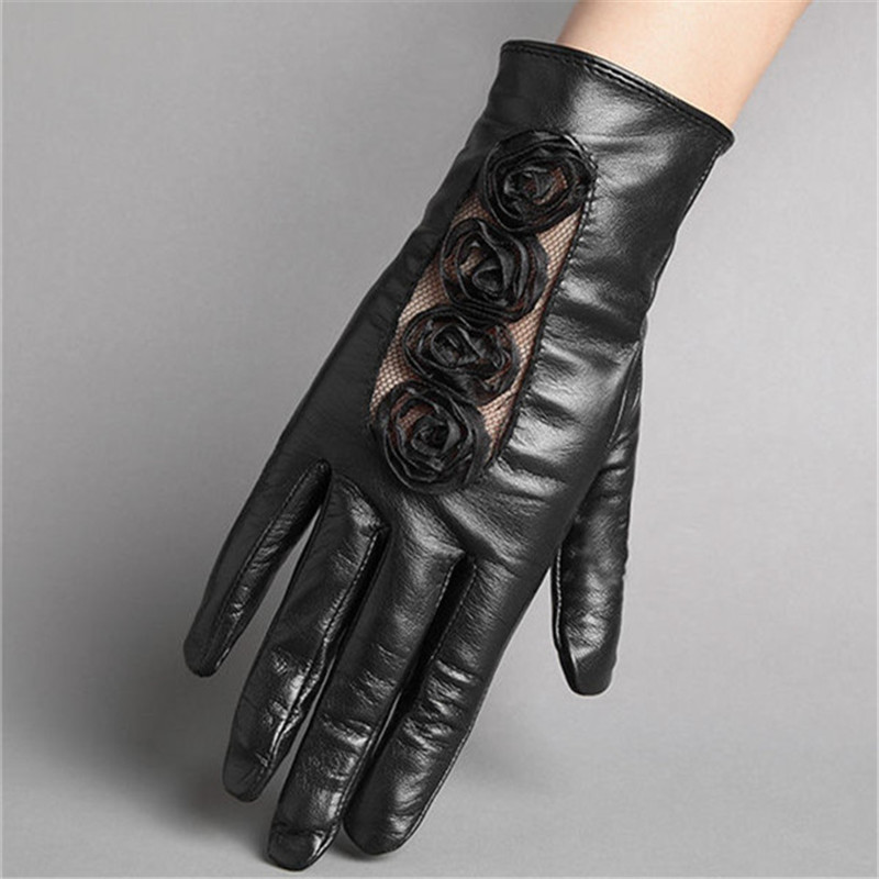 High Quality Lace Flowers Patchwork Genuine Leather Women Gloves Autumn Winter Plus Velvet Touch Screen Sheepskin Gloves Female