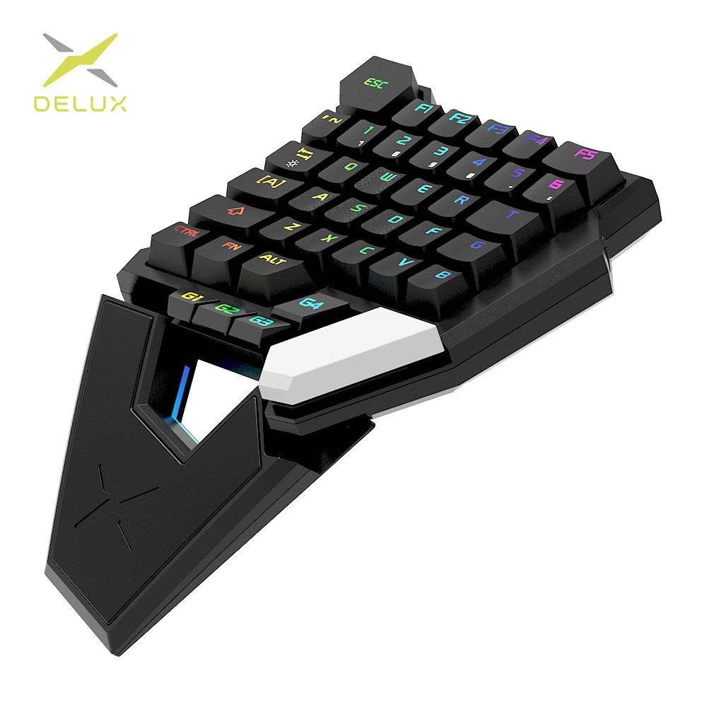 DELUX T6 Single-handed Mechanical Gaming Keyboards Collapsible RGB 39 Key Fully Programmable Wired Keypad For Laptop PC Gamer