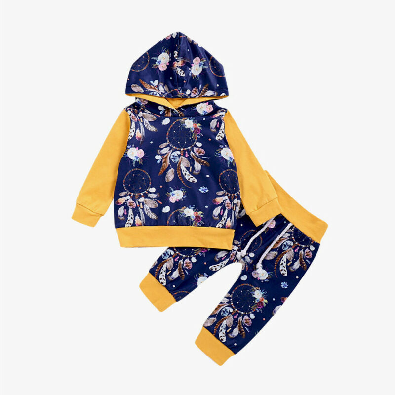 Pudcoco Newborn Baby Boys Girl Clothes Casual Hooded Floral Tracksuit Clothing Set Dreamcatcher Outfits 2pcs