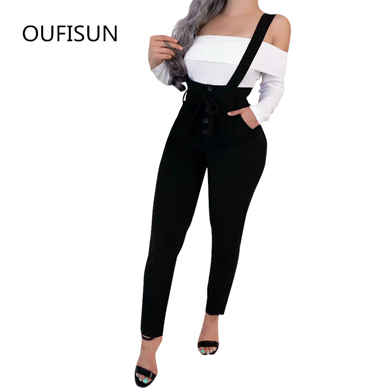Oufisun 2020 Long Pants For Women Spring Harem High Waise Suspender Pants White Belt Straps Femme Casual Long Trouser Overalls