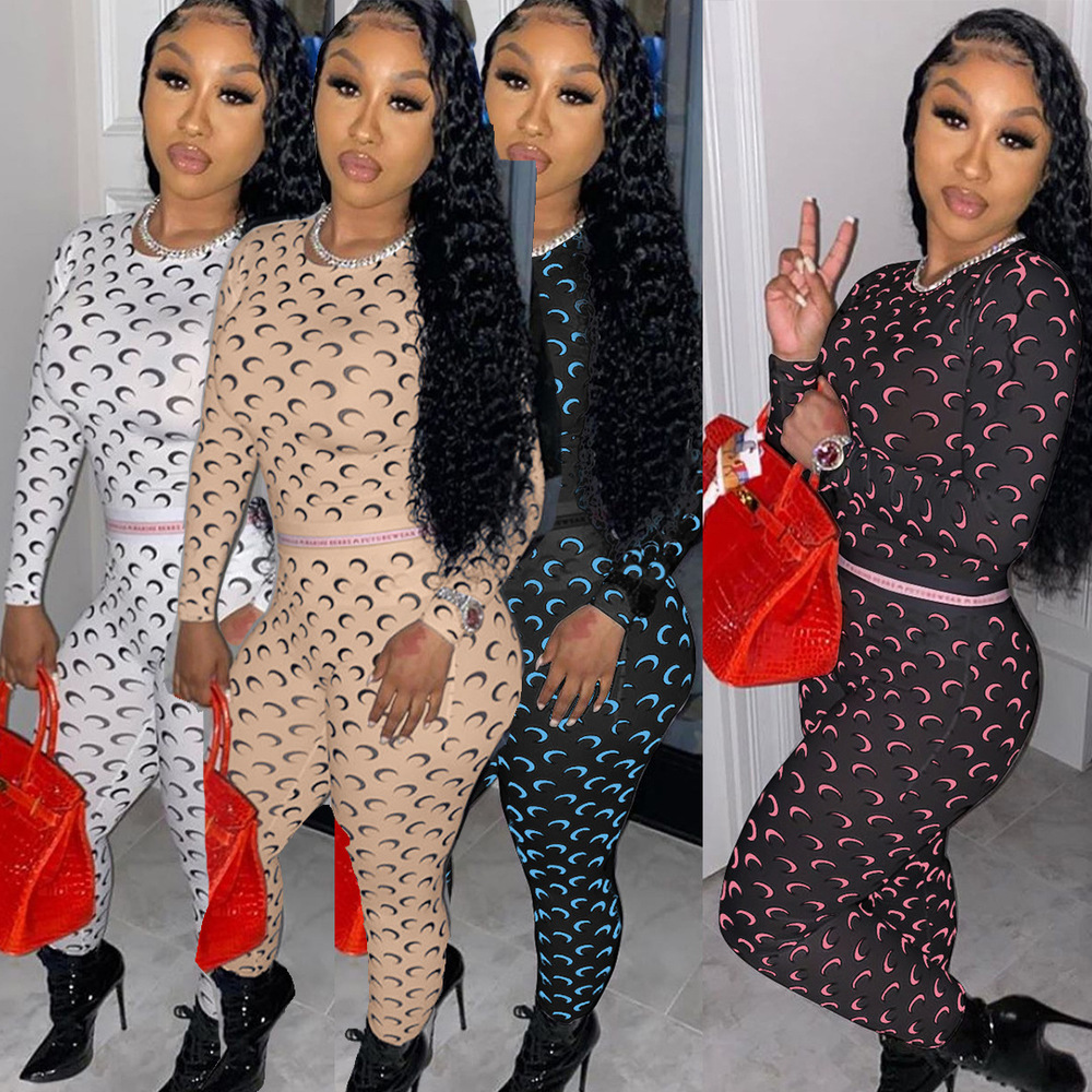 Women Sporty Fitness Tracksuit Moon Letter Print Long Sleeve Bandage Tops and Skinny Long Legging Pant Matching Sets Club Outfit 1