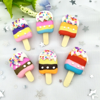 6pcs Mix Color Simulation Popsicle dessert Polymer Figurines stone Miniature scrapbook applique Home Decor ornament craft DIY 1