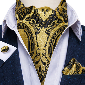 цена Luxury Men Silk Ascot Wedding Party Gold Paisley Cravat Necktie Pocket Square Cufflinks 3pcs Set Gentleman Ascot Tie DiBanGu онлайн в 2017 году