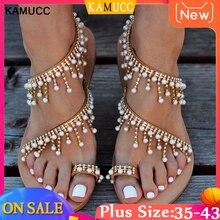 Women Sandals Bling Crystal Summer Shoes Woman Beach Flat