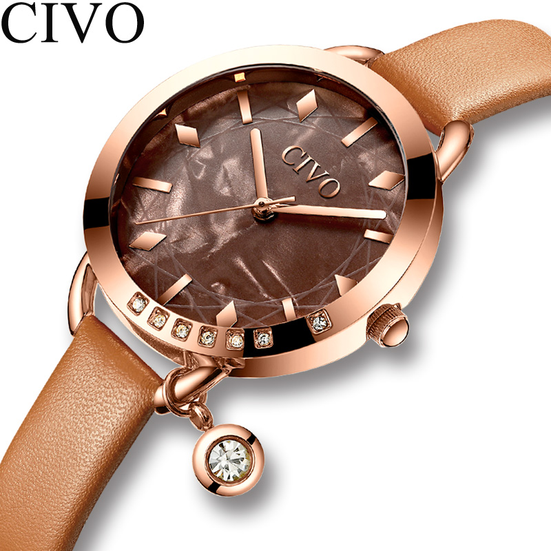 CIVO Casual Waterproof Wristwatch Gift For Girl 2019 New Blue Leather Watchband Women Watch Fashion Quartz Lady Watches Relogio