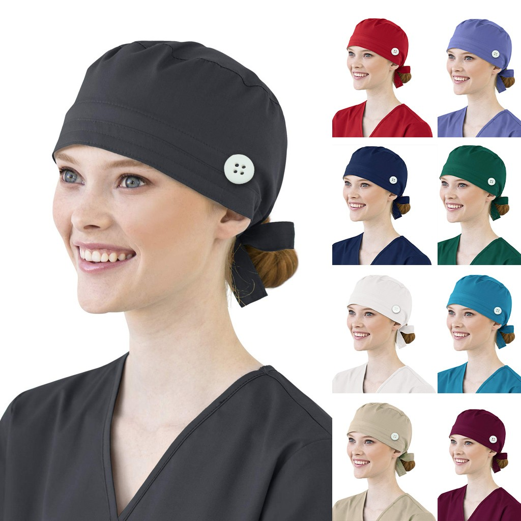 Women Cotton Bandage Adjustable Scrub Cap Sweatband Bouffant Hat Men