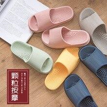 Japanese Men & Women's Flat Indoor Massage Slippers Candy Color Home Non-slip Massage Slippers 10 pairs lot japanese linen ladlies slippers heavy bottomed non slip indoor wooden floor
