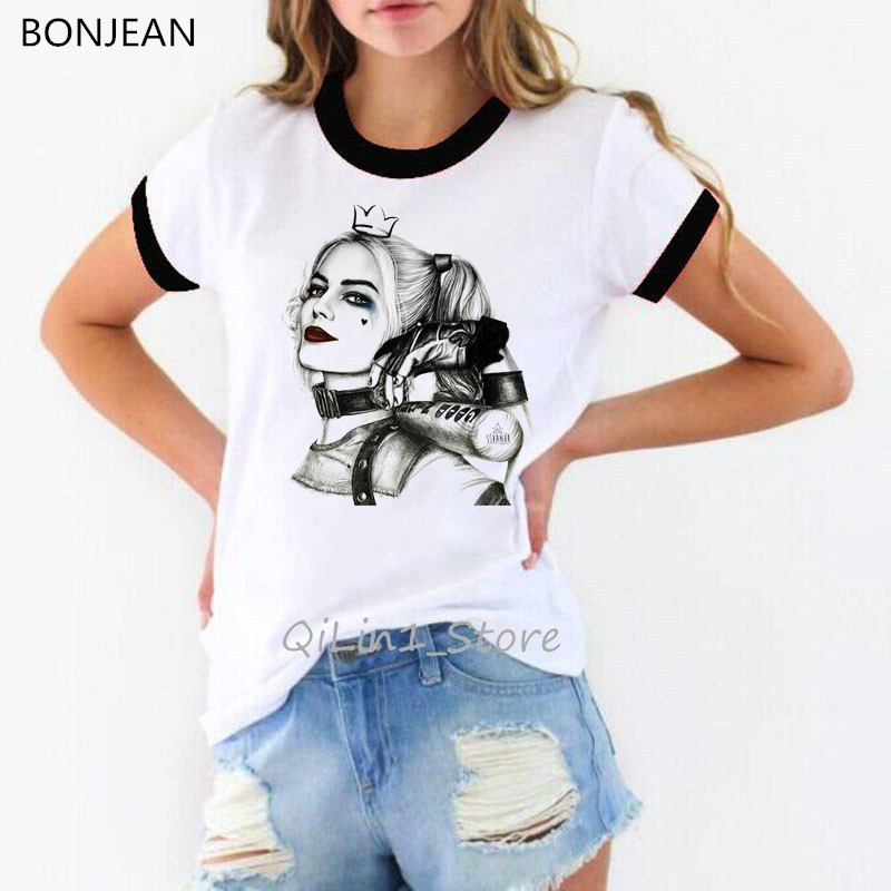 Classic Vintagesexy Harley Quinn Print Women T Shirt Harajuku Kawaii Tops Grunge Aesthetic Clothes Female Suicide Squad Tshirt