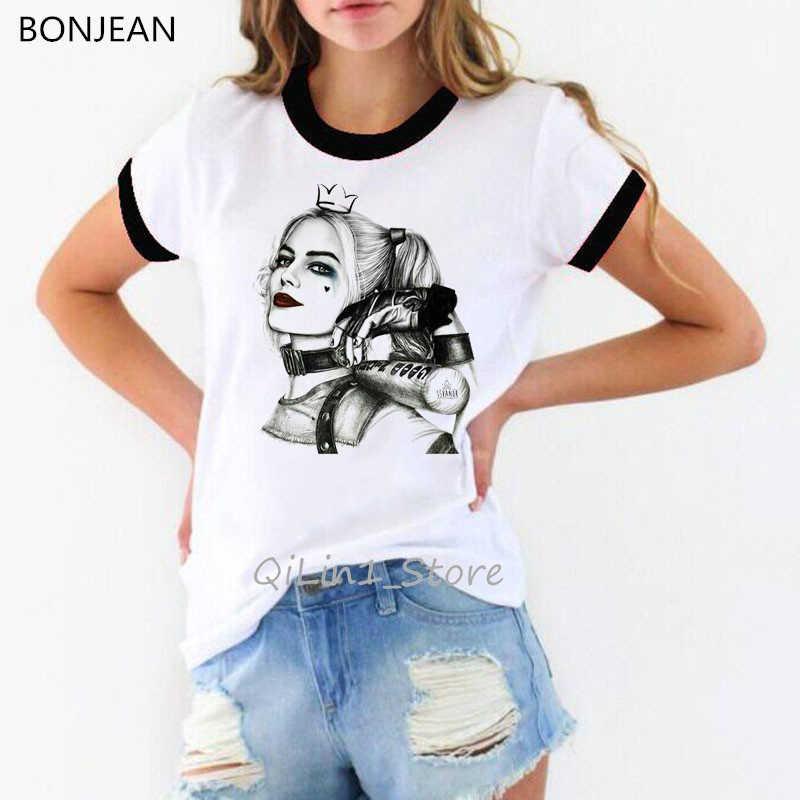 Klasyczny vintage sexy Harley Quinn drukuj kobiety t koszula harajuku kawaii bluzki grunge estetyczne ubrania kobiet samobójstwo Squad tshirt