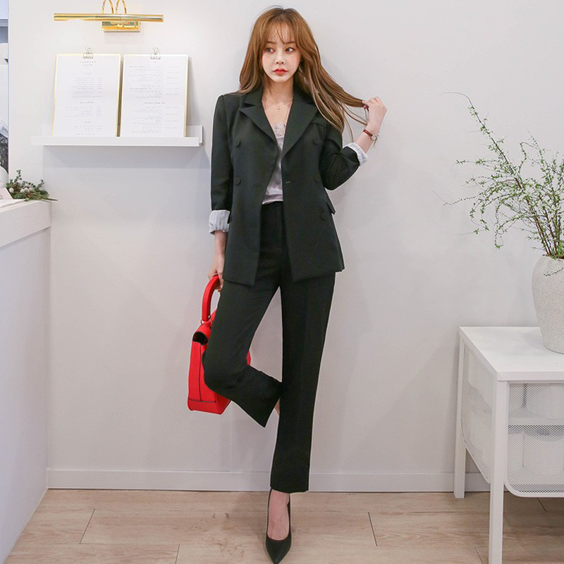 2020 New Women's Suits Pants Set Spring And Autumn Fashion Solid Color Ladies Jacket Blazer Slim-fit Trousers Two-piece
