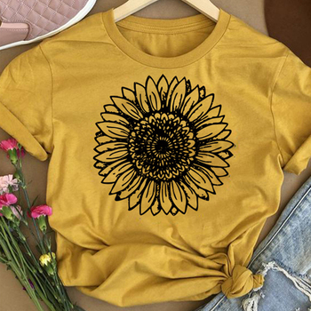 цена на Sunflower Print Tops Women Summer Casual Short Sleeve Round Neck T-shirt Fashion White Pink Yellow Daily Top D30