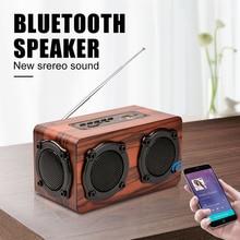 Bluetooth רמקול עץ נייד אלחוטי בס סטריאו רמקול SD כרטיס רטרו FM רדיו TF AUX נייד חיצוני רמקולים עבור טלפון