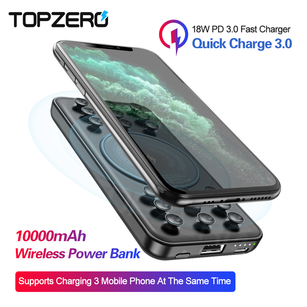 10000mah Power Bank 18W QC3.0 PD3.0 For IPhone XS 11 Pro Portable Fast Wireless Charging External Powerbank With Suction Cup