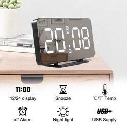 Reloj de pared espejo despertador electrónico temperatura posponer los relojes USB Luz Nocturna reloj Digital LED decoración del hogar