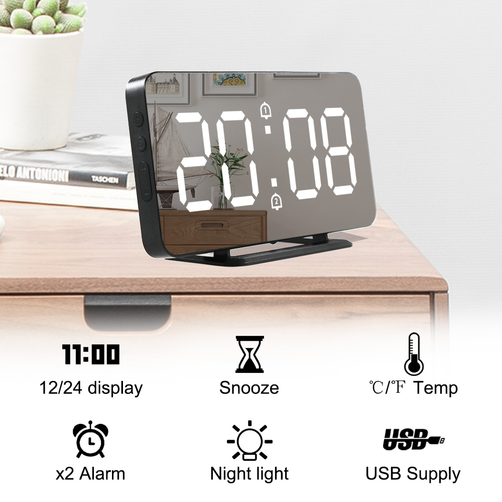 Wall Clock Mirror Alarm Clock Electronic Temperature Snooze Clocks USB Nightlight Digital LED Watch Home Decoration
