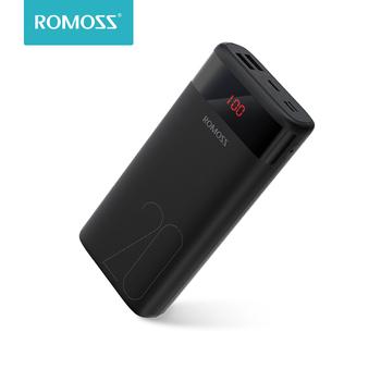 ROMOSS Ares 20 20000mAh Power Bank rodzaj USB przenośna ładowarka bateria zewnętrzna 5V 2 1A z wyświetlaczem LED do telefonów Tablet tanie i dobre opinie Bateria litowo-polimerowa Rok wybudowania kable Cyfrowy wyświetlacz Podwójny USB Typ C Do tabletu Do smartfona Z tworzywa sztucznego