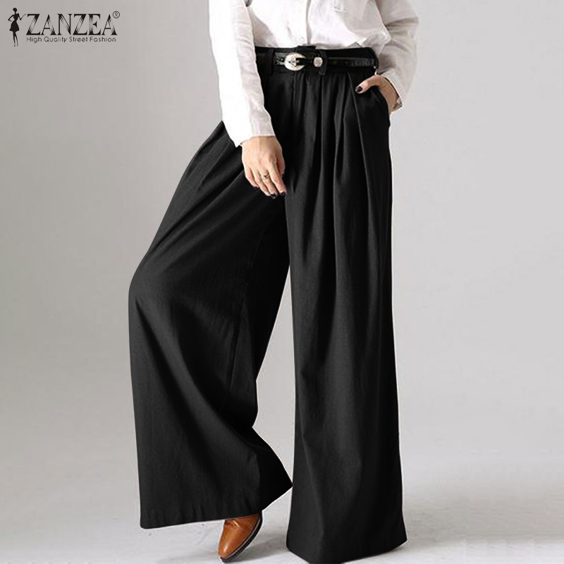 ZANZEA 2019 Fashion Ladies Long Trousers Casual Loose Pockets Bottoms Cotton Solid Streetwear Women Wide Leg Pants Plus Size 5XL
