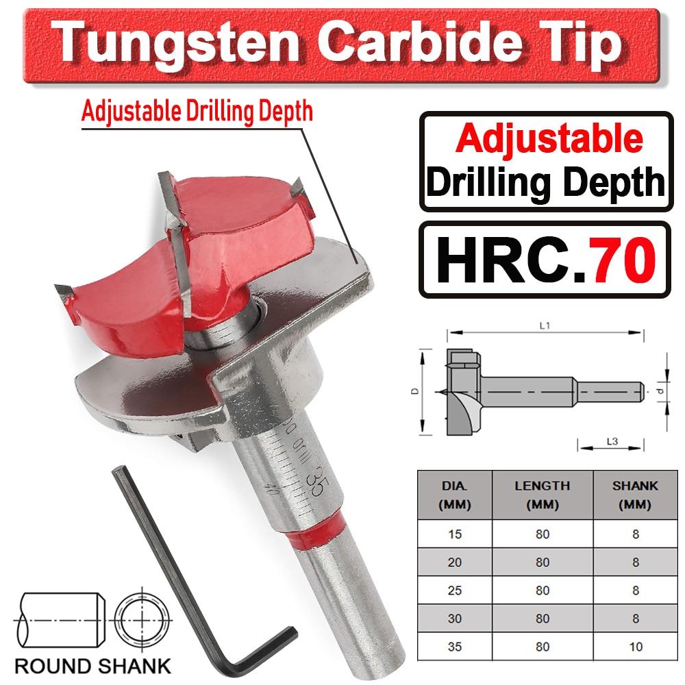 Hole Saw Forstner Bit Tungsten Carbide Tip Adjustable Depth Tct Set Cutter  Diamond Drill Bit Core Depth Stop Forstner Bit D30