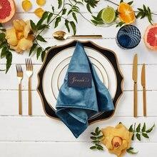 Свадебное украшение бархатная салфетка румяна ПЫЛЬНАЯ РОЗА синий