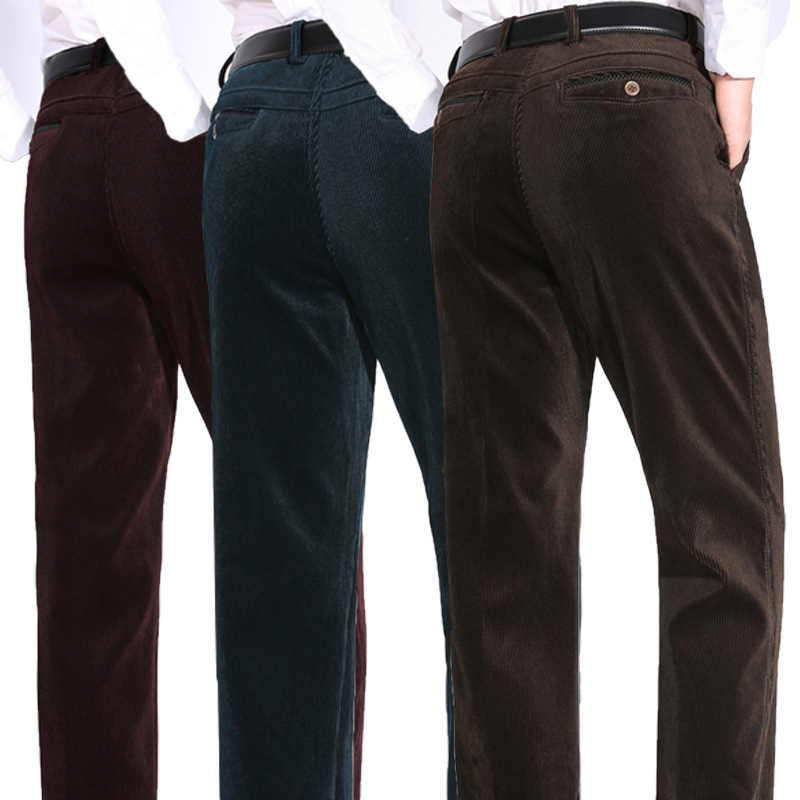 Men S Casual Pants Fitness Straight Long Thickened Corduroy Trousers Plus Size 2019 Autumn Winter Wine Green Coffee Slacks
