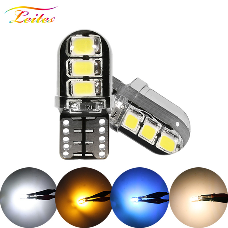 Wholesales <font><b>100pcs</b></font> Car LED <font><b>T10</b></font> W5W 6SMD 2835 Led Bulb <font><b>Canbus</b></font> Silicone Dome Light No Error Parking License Plate Bamp Car Styling image